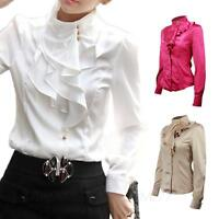Satin Blouse Ladies Silky Ruffle long sleeve shirt Office Smart Top size TATA