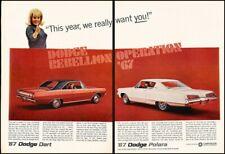 1967 Dodge Dart and Polara 2-page Vintage Advertisement Print Art Car Ad K104