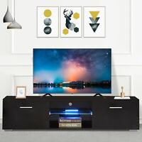 63'' Modern Black TV Stand Cabinet Console Furniture w/ 2 Drawers LED Shelves