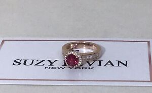 """Suzy Levian Lab-Created Ruby & 14k Rose Gold-Plated Sterling Ring Size 5 1/2"""""""