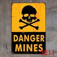 Metal Tin Sign warning danger mines Decor Bar Pub Home Vintage Retro Poster