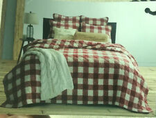 Bee & Willow Buffalo Check Plaid Full-Queen Quilt Set Shabby Chic Farmhouse Red