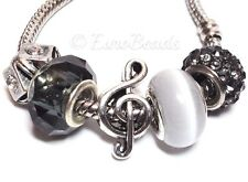 *5pc Set_MUSICAL NOTE GRAY*_Beads for Silver European Charm Bracelet Glass_S76