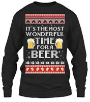 Beer Ugly Xmas Sweater - It's The Most Wonderful Gildan Long Sleeve Tee T-Shirt