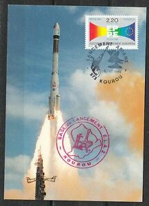 France 1989 June 5 space Maxi Card Ariane 4 Launch in Kourou