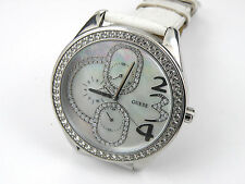 Guess Ladies Steel Case Mother of Pearl Dial White Leather i10551L1