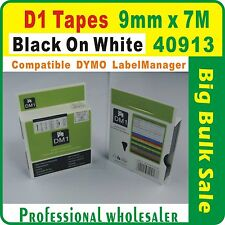 Dymo D1 9mm x 7m Black on White 40913 Compatible Label Tape
