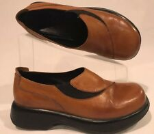 Women's Dansko Brown Leather Elastic Clog Slip Ons Size 38 Euro - 7.5/8 US