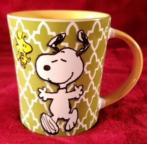 Peanuts Snoopy & Woodstock Happy Dance Green & Yellow Coffee Mug, Cup by Gibson