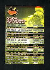New York Dragons--2003 Pocket Schedule--NBC--AFL