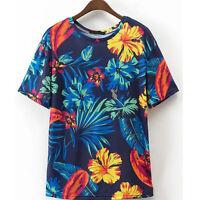 Fashion Women Summer Casual Short Sleeve Printed O-Neck T-shirt Blouse Tops