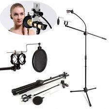 Microphone Suspension Boom Arm Floor Stand Tripod Holder Pop Filter Phone Clip