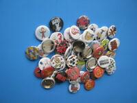 Lots of 100 Pinback  randomly selected  pinbacks one inch diameter