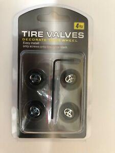 Universal Lockable/Anti Theft Wheel Valve Stem Cap Set For Toyota Black