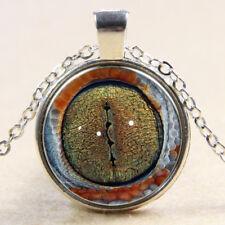 Vintage Cabochon Tibetan Silver Cobra eye Glass Chain Pendant Necklace