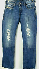 DIESEL Mens ZATINY BUTTON FLY Distressed Destroyed Jeans Sz 30W x 30L ITALY MADE