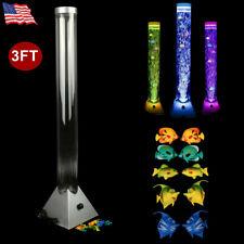 3Ft 7-Color LED Sensory Bubble Tower Lamp Tube Floor Mood Light+10 Plastic Fish