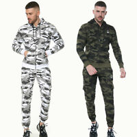 Mens Camo Tracksuit Set Fleece Hoodie Joggers Top Bottoms Gym Camouflage SportUK