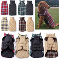 Pet Dog Clothes Plaid Cotton Reversible Winter Waterproof Warm Jacket Coat XS-3X