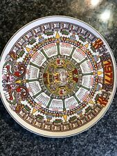 Lovely Wedgwood Queen'S Ware '1977' Calendar Plate! Tonatiuh! Aztec Sun Stone!