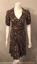 Nanette Lepore Brown Beige Stretch Jersey Collared Full Skirt Dress Size 6