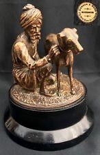 Antique Bronze Of An Arab Man Kneeling Beside His Dog Dobson & Sons London