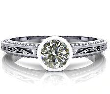 Diamond Engagement Ring .925 Silver Ring 1.15+ Ct Round Near White Moissanite