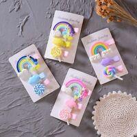 3Pcs/Set Girl Cute Lollipop Cloud Rainbow Hairpins Cartoon Bobby Pin Hair Clip m