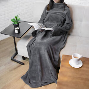 Wearable Blanket with Sleeves Soft Fleece Snuggie Robe Wrap for Sofa Couch TV
