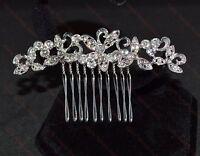Beautiful Silver Crystal Rhinestone Bridal, Party, Prom Hair Comb Slide