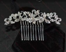 Beautiful Silver Crystal Rhinestone Bridal, Party, Prom Hair Comb Slide