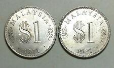 Rm 1 Malaysia 1971 (Royal mint UK) &1981 coin 2 pcs # 154