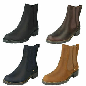 Ladies Leather Clarks Pull On D Fitting Ankle Boots : Orinoco Club