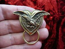 (E-591) Eagle wings spread brass Eyeglass pin pendant ID badge holder brooch