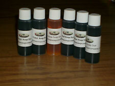 Liquid Soap Dye 6-1 oz Bottles Blue Green Red Violet Brown & Yellow Skin Safe