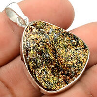 10g Top Grade Astrophyllite Druzy 925 Sterling Silver Pendant Jewelry SDP57859