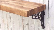 Solid OAK wooden floating Mantel shelf rustic with Shelf Support Brackets