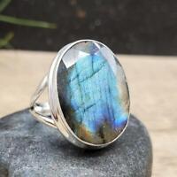 Faceted Labradorite Gemstone 925 Sterling Silver Artisan Handmade Larg Gift Ring