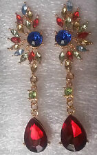 J01. Gold pl stud drop dangle earrings - ruby red, emerald blue & multi crystals