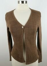 Talbots Womens Knit Viscose Nylon LS 1 Button Brown Shrug Sweater PS Italy Made