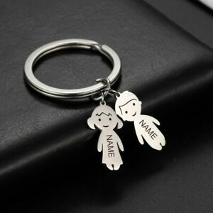 Personalized Engraved Name Date Child Family Keychain Custom Stainless Steel 1Pc