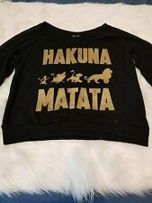 Disney HAKUNA MATATA from Lion King Sweater BLACK Color Size L -A03