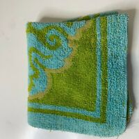 vintage hand towel green floral design chenille square 11x11 Dundee 100%cotton