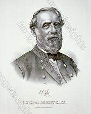 Rare CIVIL WAR Robert E. Lee Currier & Ives 8x10 RP Engraving 1865 -1870 RP