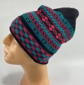 Maureen of the Mews Wool Winter Ski Hat Beanie Alpine Stripe Black Red Green Hat