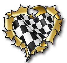 Ripped Torn Metal GOLD HEART & B&W Chequered Racing Flag vinyl car sticker decal