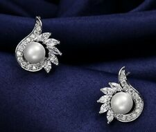 6mm Pearl Cluster White Gold Plated Stud Crystal Earrings