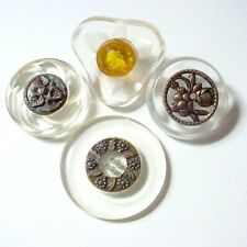 New listing 4 Vintage Lucite Buttons Metal Trim Ome Back Carved Rhinestone Round & Shape