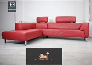 Ewald Schillig Designer Sofa Ecksofa Bordeaux Leder Tisch Couch Echtleder