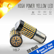 2X 1157 50W High Power Chip LED Projector Yellow Turn Signal Brake Light Bulbs